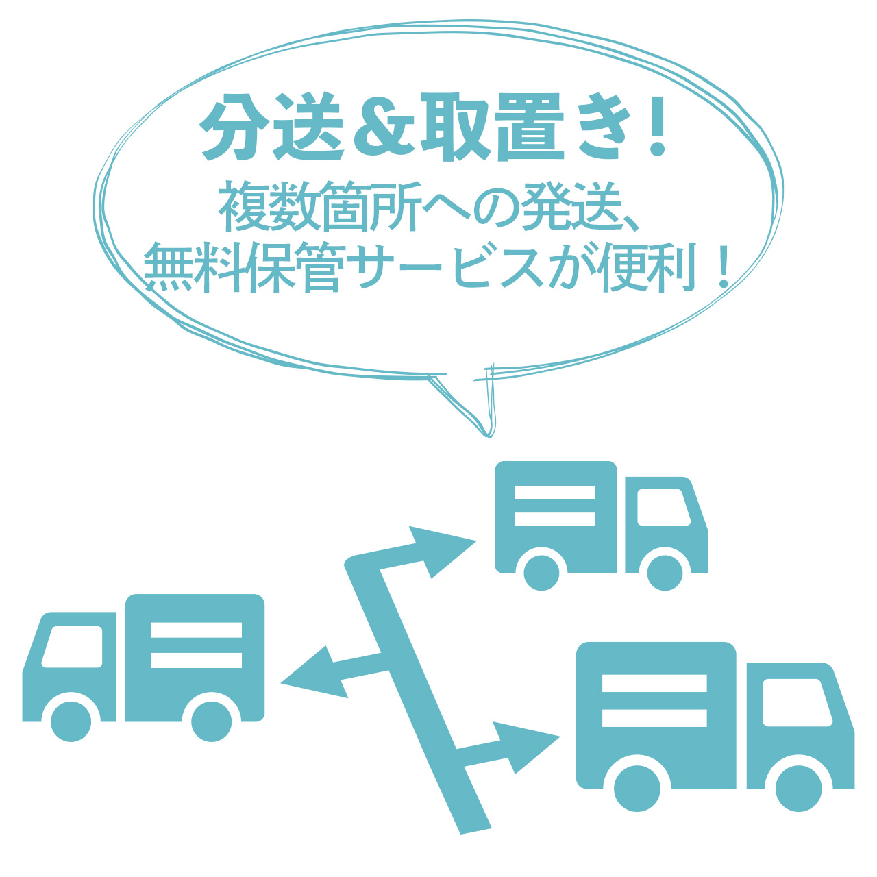 分送&取置き! 複数箇所への発送、 無料保管サービスが便利!